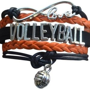 Girls Volleyball Bracelet - Black & Orange
